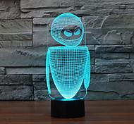 Робот с сенсорным затемнением 3D LED свет ночи 7colorful украшения атмосфера новизны светильника освещения свет рождества