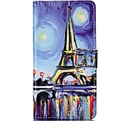 For Sony XP M4 Case Cover Oil Painting Tower Pattern Painting Card Stent PU Leather Phone Case