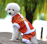 Dog Coat Clothes/Jumpsuit Dog Clothes Winter Spring/Fall Embroidered Fashion Holiday New Year's Yellow Red Blue