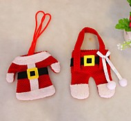 Christmas Table Decorations Knife And Fork Bag Christmas Cutlery 2pcs Set Small Clothes Weihnachten Dekoration Gifts