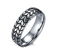 Men's Fashion Personality 316L Titanium Steel Ring Vintage Tyre Band Rings Casual/Daily Accessory 1pc