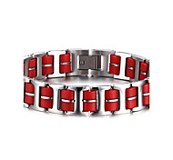 Men's ID Bracelets Jewelry Halloween/Party/Birthday/Daily/Casual Fashion Stainless Steel/Silicone /Red 1pc  Gift