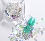 2g/box New Symphony Blue Clover/Note/Moon Paillette Glitter Nails 3d Slice Powder Set DIY Design