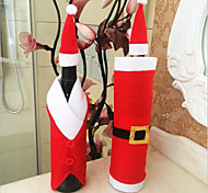 2pcs бутылка вина покрывает сетов Рождественская вечеринка шапка Санта-Клауса одежду для бутылки подарок Xmas красный новый год украшения