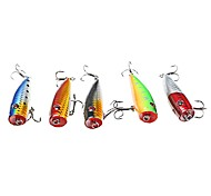 5Pcs Laser-pro Top Water Floating Popper 7 cm/9 g Lure Fishing Assorted 5 Colors For Bass Snakehead Catfish Fishing