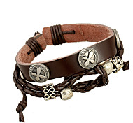Unisex Fashion Jewelry Punk Style Handmade Adjustable Alloy Genuine Leather Bracelet Casual/Daily Women Men Gift