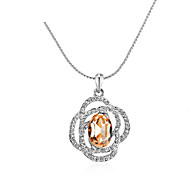 Elegant Rose Crystal Necklace Silver Plated Fashion Jewelry Pendant Austrian Crystal