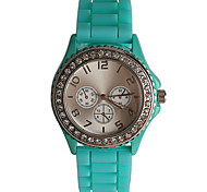 Simple Fashion Diamond Blue Silicone Girls Watch