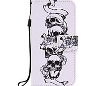 Для Кошелек / Бумажник для карт / со стендом / Флип / Рельефный / С узором Кейс для Чехол Кейс для Череп Твердый Искусственная кожа Apple