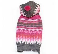 Cat Dog Sweater Hoodie Dog Clothes Winter Spring/Fall Stripe Casual/Daily New Year's Pink