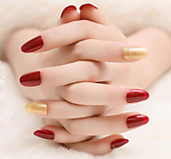 24Pcs Wine Red And Gold Nails Temperament Beauty Fashion 1Set