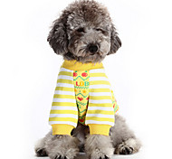 Dog Coat / Clothes/Jumpsuit Yellow / Pink / Coffee Dog Clothes Winter / Spring/Fall Stripe Cute / Keep Warm