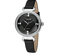 VILAM Leather Strap Women Watch Crystal Diamond Ladies Casual Quartz Watches