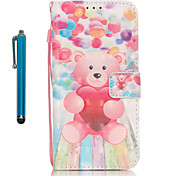 For Samsung Galaxy S7 edge S7  Case Cover with Stylus Balloon Bear 3D Painting PU Phone Case S6 edge S6 S5 S4