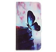 pour samsung galaxy j5 (2016) j3 J5 (2016) j3 eforcase peinture de papillon bleu de cas pu de téléphone