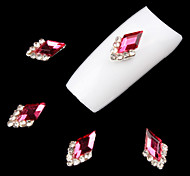 5 Pcs Nail Art Decoration Rhinestone Rose Red