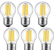 6W E26/E27 Bombillas de Filamento LED G45 6 COB 560 lm Blanco Cálido Decorativa V 6 piezas