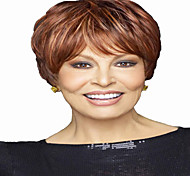 Short Wavy Hair Brown and Red Mixed Color Synthetic Wigs for Women