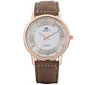 Men's Dress Watch / Fashion Watch Quartz Water Resistant/Water Proof Leather Band Casual Brown Brand