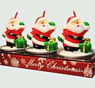Vela do Natal 3pcs forma bonito Papai Noel