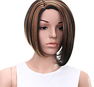 Short Straight Hair Black and Brown Mixed Color Synthetic Wigs for Women