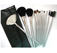 12 Makeup Brushes Set Goat Hair Portable Wood Face G.R.C