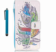 For Samsung Galaxy S7 edge S7  Case Cover with Stylus Colorful Feathers 3D Painting PU Phone Case S6 edge S6 S5 S4