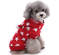 Cat Dog Sweater Dog Clothes Winter Stars Cute Keep Warm Christmas Red Blue