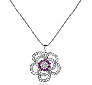 Xu Women's Fashionable Joker Hollow Out Flowers Long Pendant Necklaces