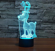 Christmas Deer Touch Dimming 3D LED Night Light 7Colorful Decoration Atmosphere Lamp Novelty Lighting Christmas Light