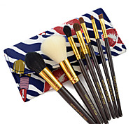 7 Makeup Brushes Set Synthetic Hair Professional / Portable Wood Face / Eye / Lip Blue Dimensions Coffee Handle