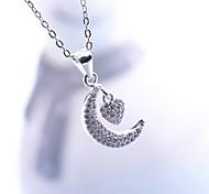 Women's Jewelry S925 Silver Zircon Charm Moon-shaped Pendant for Women