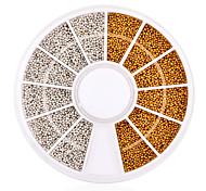1200pcs/set Gold Silver Tiny Circle Beads Nail Art Decoration Wheel 3d DIY Caviar Nail Accessories