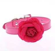 Cat / Dog Collar Adjustable/Retractable / Cosplay / Running / Hands free / Casual Flower Red / Blue / Pink / Purple / Rose PU Leather