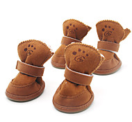 Dog Shoes & Boots Keep Warm Winter Solid Brown / Pink Cotton
