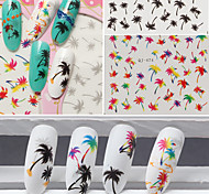 3pcs/lot Nail  Coconut Trees  Series Watermark Stickers
