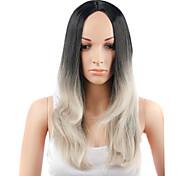 estilo de la manera pelo largo y liso de color negro y gris pelucas sintéticas para mujeres
