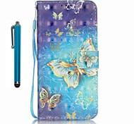 Für Kreditkartenfächer / Geldbeutel / mit Halterung Hülle Handyhülle für das ganze Handy Hülle Schmetterling Hart PU - Leder Samsung