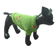 Dog Sweater Green Dog Clothes Winter Flower Keep Warm