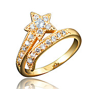 Star Design Girl's 18K Gold Plating Brand Ring with Red Zircon