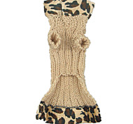 Dog Coat Yellow / Black Dog Clothes Winter Leopard Keep Warm