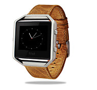 Luxury Genuine Leather Buckle Sport Watch Band Wrist Strap Metal Frame For Fitbit Blaze Smart Watch