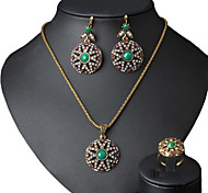 Women's Fashion Indian Turquoise Jewelry Openwork Flowers Earring&rIng&Pendant Rhinestone Jewelry Set