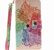 for Wiko Lenny 2 EFORCASE Colorful Flower Painted Lanyard PU Phone Case