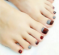 24 Pieces Of Gray Cafe Is Finished Nail Glue Toenails Stick