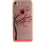 For iPhone 7 6S 6 TPU Material IMD Process Red Plum Pattern Phone Case