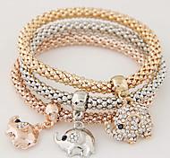 Women Fashion Simple Rhinestones Cute Little Elephant Charm Bracelet Gift