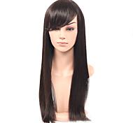 дешевые длинные прямые волосы синтетический парик с челкой бесклеевой синтетический парик естественного цвета парик прямые волосы