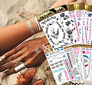 10 Tattoo Stickers Jewelry Series / Animal Series / Flower Series / Totem Series / Others / Cartoon Series / Romantic SeriesNon Toxic /