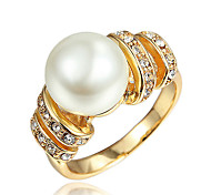 Gold Plating Party Dress Ring with Big Pearl